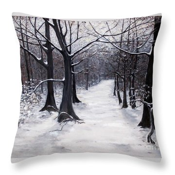 Forest Path In Winter Throw Pillow