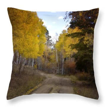 Forest Road In Autumn Throw Pillow by Ellen Heaverlo
