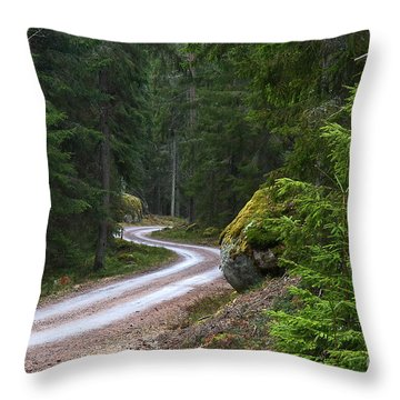 Throw Pillow featuring the photograph Forest Road by Kennerth and Birgitta Kullman