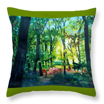 Throw Pillow featuring the painting Forest Scene 1 by Kathy Braud