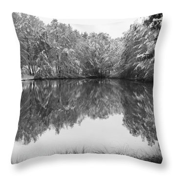 Throw Pillow featuring the photograph Forest Snow by Miguel Winterpacht
