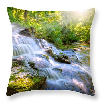 Forest Stream And Waterfall Throw Pillow