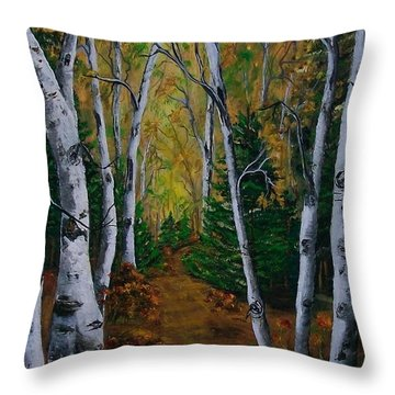 Birch Tree Forest Trail  Throw Pillow