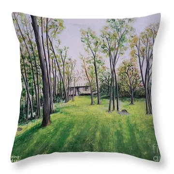 Forest View Throw Pillow by Usha Rai