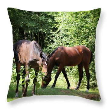 Forest Visitors Throw Pillow