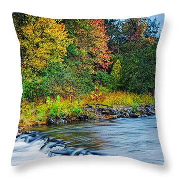 Foretelling Of A Storm Beaver's Bend Broken Bow Fall Foliage Throw Pillow