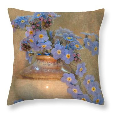 Forget Me Not Bouquet Throw Pillow