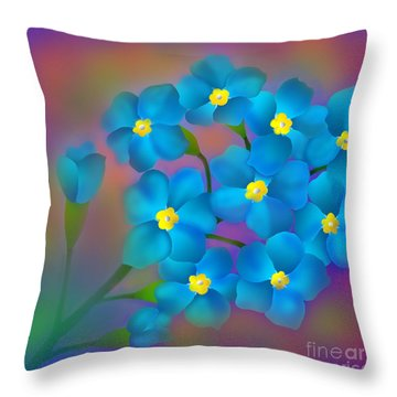 Forget- Me -not Flowers Throw Pillow by Latha Gokuldas Panicker