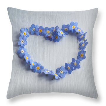 Forget Me Not Heart Throw Pillow