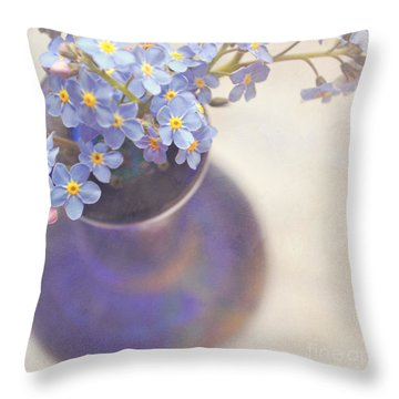 Forget Me Nots In Blue Vase Throw Pillow