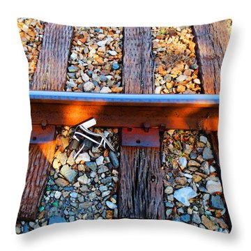 Forgotten - Abandoned Shoe On Railroad Tracks Throw Pillow by Sharon Cummings