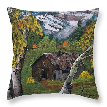 Throw Pillow featuring the painting Forgotten Cabin  by Sharon Duguay