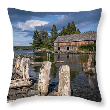 Forgotten Downeast Smokehouse Throw Pillow by Marty Saccone