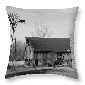 Forgotten Farm In Black And White Throw Pillow by Judy Whitton