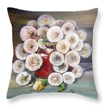 Throw Pillow featuring the painting Forgotten by Iya Carson