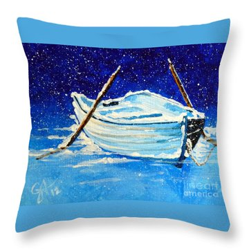 Forgotten Rowboat Throw Pillow by Jackie Carpenter