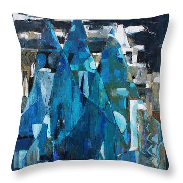 Throw Pillow featuring the painting Forgotten Night by Becky Kim