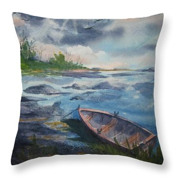 Throw Pillow featuring the painting Forgotten Rowboat by Ellen Levinson