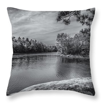 Fork In River Bw Throw Pillow by Mark Myhaver