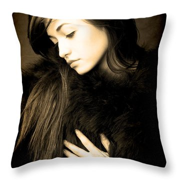 Forlorn Woman Throw Pillow