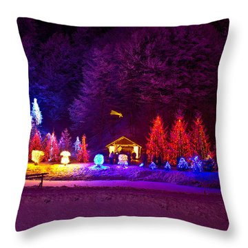 Forrest In Christmas Lights Throw Pillow by Brch Photography
