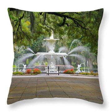 Forsyth Fountain Throw Pillow by John Roberts