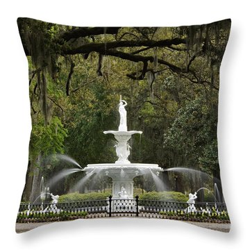 Forsyth Park Fountain - D002615 Throw Pillow