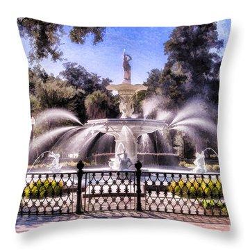 Forsyth Park Fountain Throw Pillow