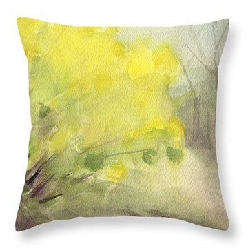Forsythia In Central Park Watercolor Landscape Painting Throw Pillow by Beverly Brown