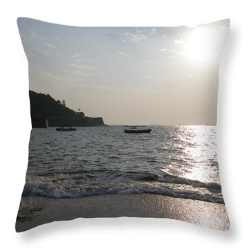 Fort Aguada Beach Throw Pillow by Mini Arora