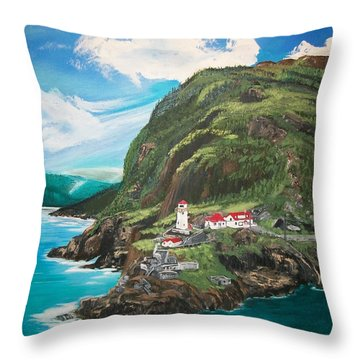 Throw Pillow featuring the painting Fort Amherst Newfoundland by Sharon Duguay