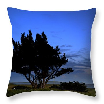 Fort Fisher Moonrise  Throw Pillow