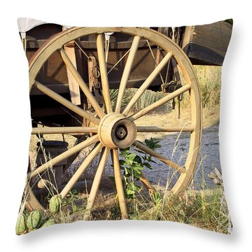 Fort Laramie Wy - Moving West On Wagon Wheels Throw Pillow by Christine Till