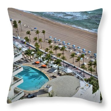 Fort Lauderdale Beach Florida 1 Throw Pillow by Timothy Lowry