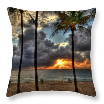 Fort Lauderdale Beach Florida - Sunrise Throw Pillow by Timothy Lowry