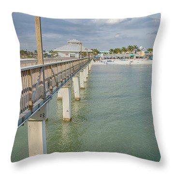Fort Myers Beach Throw Pillow by Kim Hojnacki