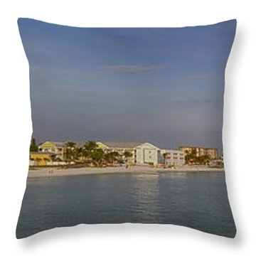 Fort Myers Beach Panorama Throw Pillow by Anne Rodkin