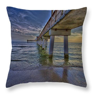 Fort Myers Beach Pier Throw Pillow by Anne Rodkin