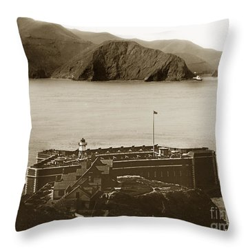 Fort Point And The Golden Gate San Francisco Circa 1890 Throw Pillow by California Views Mr Pat Hathaway Archives