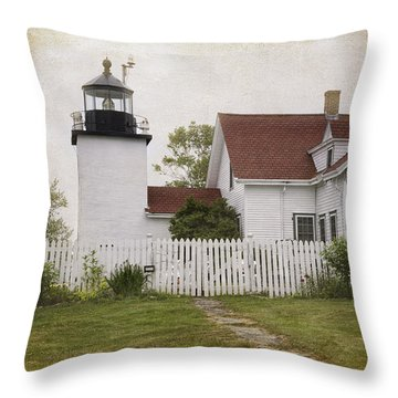Fort Point Lighthouse Throw Pillow by Joan Carroll