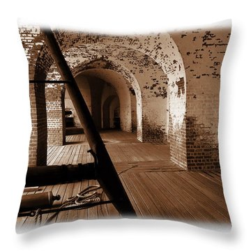Throw Pillow featuring the photograph Fort Pulaski Arches Sepia by Jacqueline M Lewis