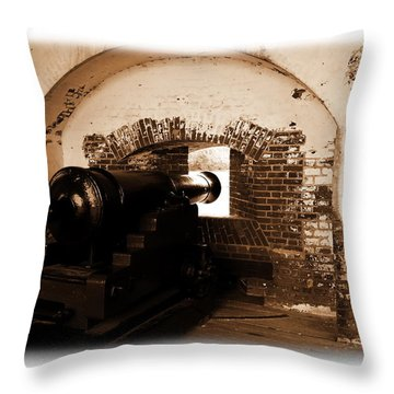 Throw Pillow featuring the photograph Fort Pulaski Canon Sepia by Jacqueline M Lewis