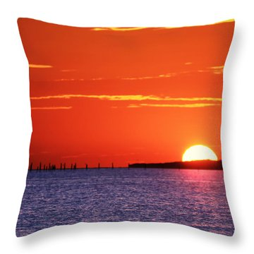 Fort Story Sunrise Throw Pillow