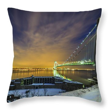 Fort Wadsworth And Verrazano Bridge Throw Pillow