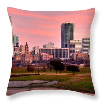 Throw Pillow featuring the photograph Fort Worth Skyline At Dusk Evening Color Evening Panorama Ft Worth Texas  by Jon Holiday