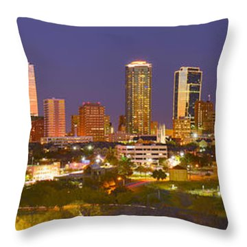 Throw Pillow featuring the photograph Fort Worth Skyline At Night Color Evening Panorama Ft. Worth Texas by Jon Holiday