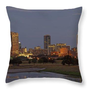 Fort Worth Skyline Golden Hour Throw Pillow