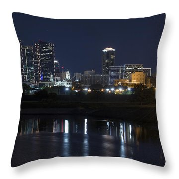 Fort Worth Skyline Super Moon Throw Pillow