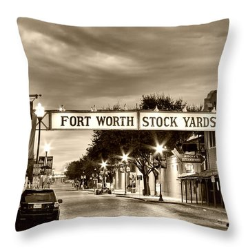 Fort Worth Stock Yards In Sepia Throw Pillow