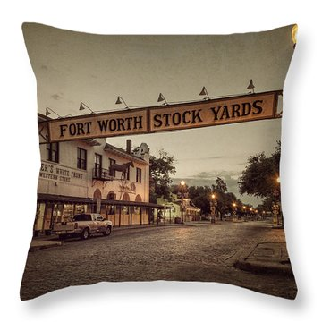 Fort Worth Stockyards Throw Pillow
